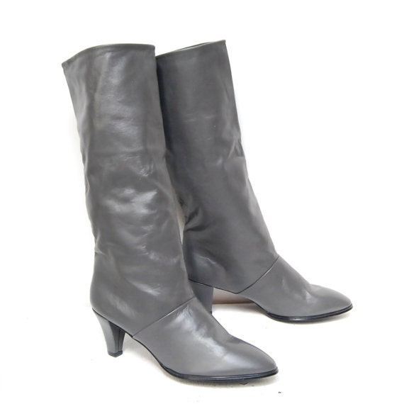 size 10 GRAY leather 80s HIGH HEEL knee high boots