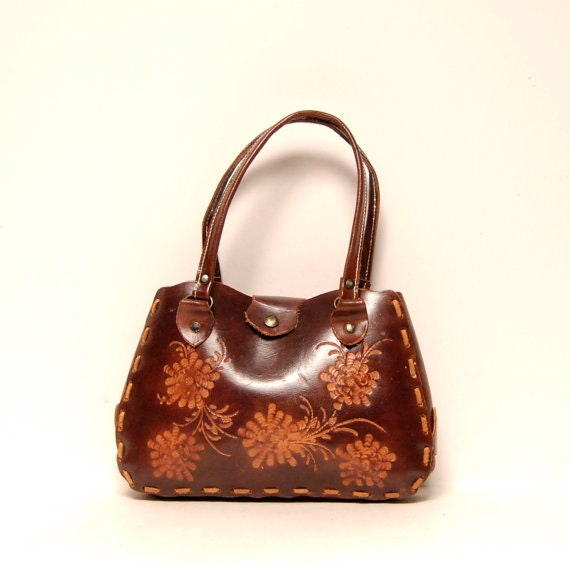 BOHEMIAN leather 70s FLORAL TOOLED multicolor purse
