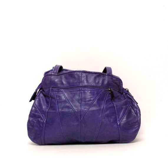 BOHEMIAN dark purple leather 60s 70s SHOULDER bag
