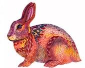 Happy Rabbit, autumn animal art print by OlaLiola (No. 37), different sizes