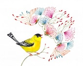 Singing Goldfinch // SALE 1+1 // Buy one get one FREE, songbird art print, little bird by OlaLiola, size 7x5 (No. 45s)