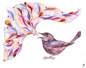 Singing Wren // SALE 1+1 // Buy one get one FREE, watercolor bird art print, size 7x5 (No. 48s)