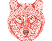 Ola's Red Wolf // SALE 1+1 // Buy one get one FREE,  wild animal art print, size 8x10, limited edition 16/100 (No. 15)