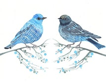 Blue birds couple, two bluebirds on branches print, A3 size