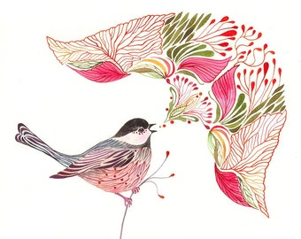 Chickadee Song, singing bird watercolors art print, size 10x8 (No. 43)