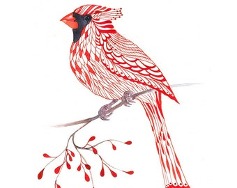 Cardinal Bird, lacy cardinal on branch art print, size 8x10 (No. 1)