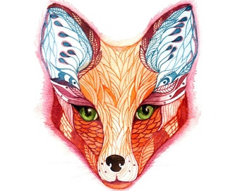 """Red fox, wild animal face water color art by Ola Liola, size 8""""x10"""" (No. 28)"""
