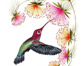 Blooming, hummingbird print, bird watercolor painting print, size 10x8 in (No. 29a)
