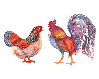 Hen and Rooster, lacy home animals art print, size 10x8 (No. 38)