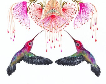 Hummingbirds and flower, Together, birds watercolor art print, size 10x8 (No.29b)