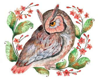 Daydreaming owl, bird watercolor art print, size 10x8, limited edition 20/100 (No. 42)