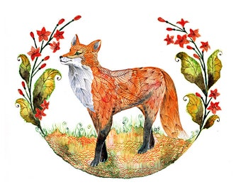 Foxy Garden // SALE 1+1// Buy one get one FREE, (fox and flowers) - animal art print, size 7x5 (No. 23s)