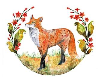 Foxy Garden (fox and flowers) - animal art print, size 7x5 (No. 23s)