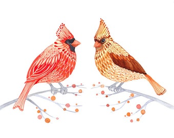 Couple of Cardinals, watercolor birds on branches painting print by Ola Liola, size 10x8. (No. 4)