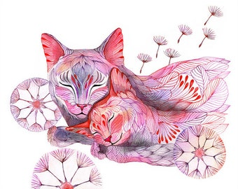 "Sleepy dandelion (cat family), animal world art print, size 10""x8"" (No. 17)"