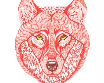 Ola's Red Wolf, wild animal art print, size 8x10, limited edition 16/100 (No. 15)