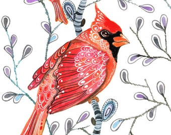 Cardinals on branches, watercolor art print by Ola Liola, size 10x8  (No. 5)