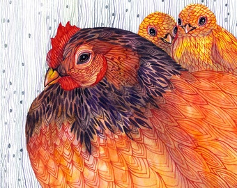 Hen and chicks, Knitted Hen cozy mood watercolor artwork print, 10x8 print (No. 32)
