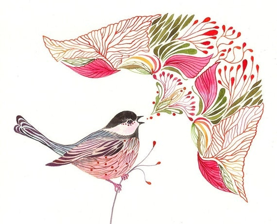 Chickadee Song // SALE 3 for 2 // singing bird watercolors art print, size 10x8 (No. 43)