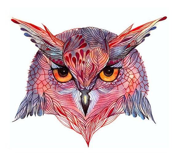 Owl face, Owl wild bird face water color art print, size10x8 (No. 27)