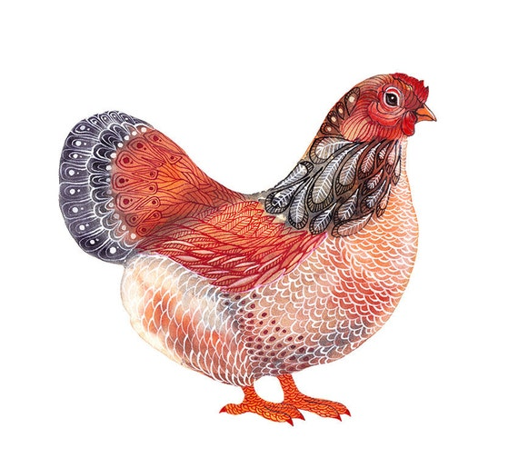 Lacy Hen, water color artwork print, size 10x8 (No. 35)