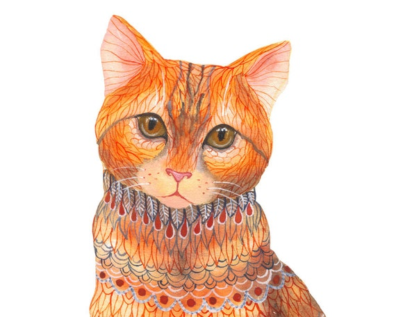 ginger cat, tabby cat, size 10x8 print-lacy cat