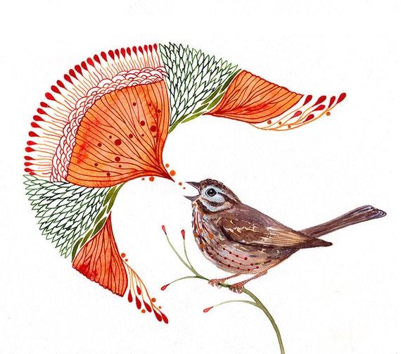 Sparrow bird tweet, Singing Sparrow artwork print by Ola Liola, size 10x8, (No. 49)