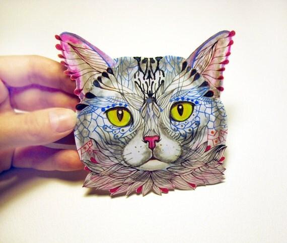 Blue Cat Face animal sticker, 100% waterproof vinyl label.