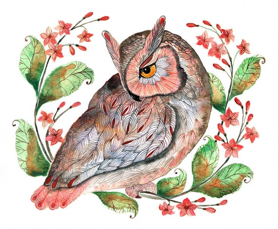 Daydreaming owl // SALE 1+1 // Buy one get one FREE, bird watercolor art print, size 10x8, limited edition 20/100 (No. 42)