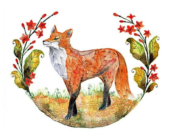 Fox and flowers // SALE 1+1// Buy one get one FREE, Foxy Garden animal art print, size 8x10 (No. 23 )