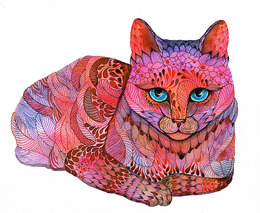Kitty Sunset Cat water color painting print neon animal art