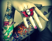 Punk Rock Skull Butterfly Ring