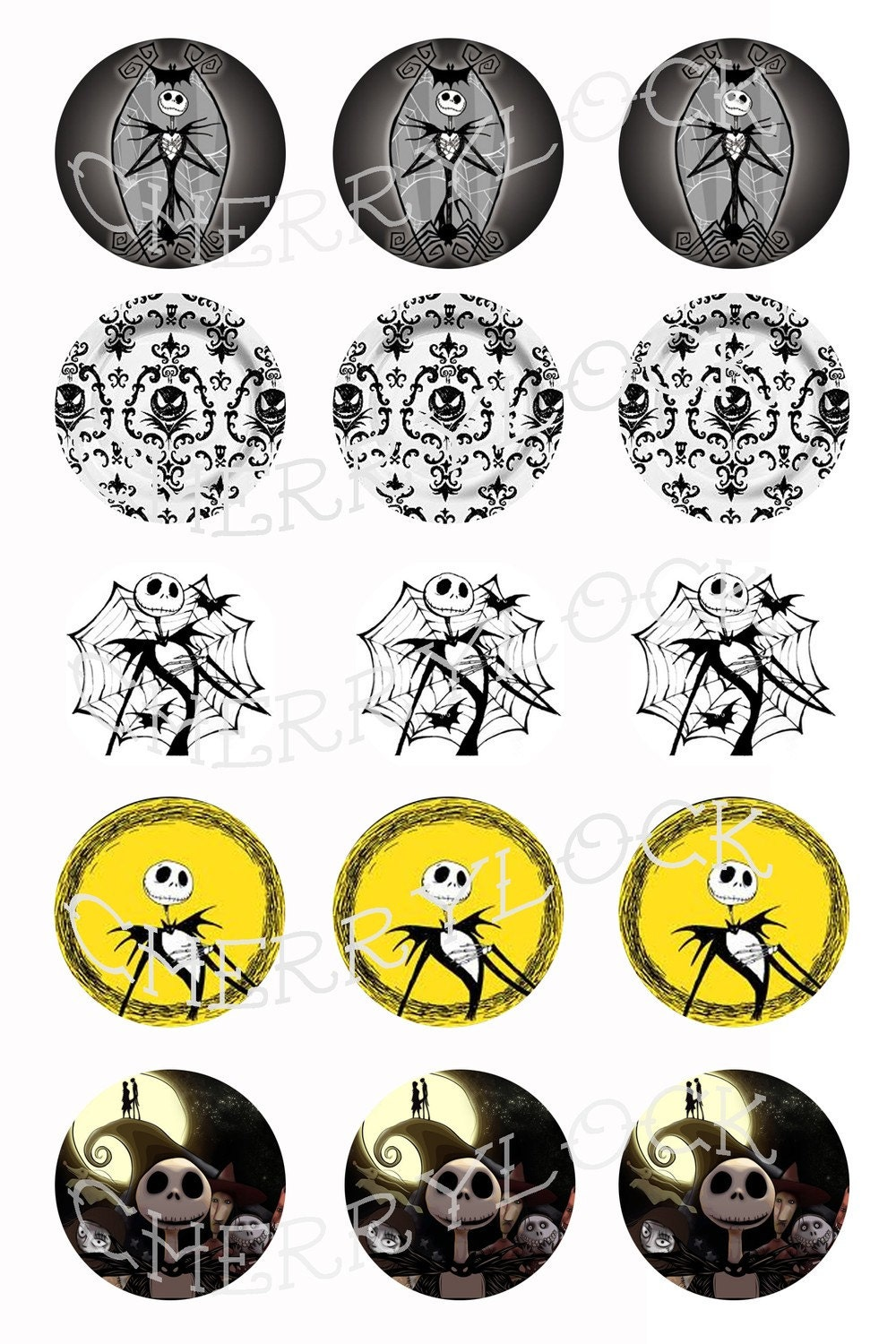 Digital Printable Bottle Cap Image Sheet Nightmare Before