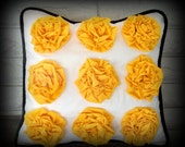 The Heather - 18 x 18 Cream Linen Pillow Cover with Corn Yellow Ruffled Rosettes and Black Piping