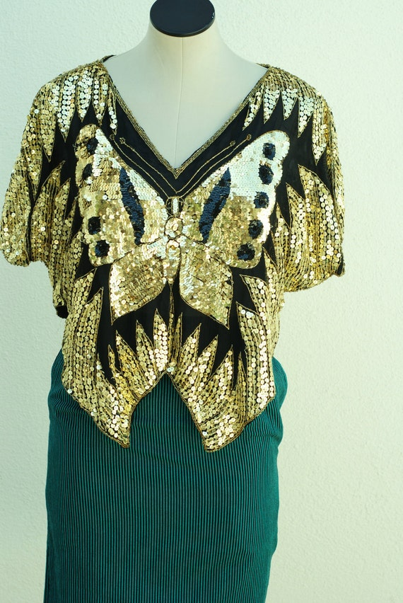 Vintage Gold Sequin Butterfly Top