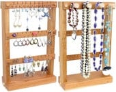 Earring Holder - Jewelry Holder Stand, Wood, Cherry, plus Necklace Holder. Holds 30 pairs plus 4 pegs, Jewelry Display