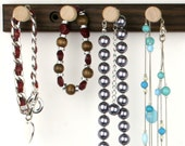 "Peruvian Walnut Necklace Holder Raack - Wall Mount Jewelry Holder Bar, Wooden.  15"", 10 Pegs. Compact. Hanging Jewelry Organizer"