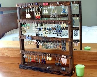 Bocote Earring Organizer Stand - Jewelry Storage, Zebra-Stripe, Dark Brown, Wood. Holds up to 72 pairs of Earrings. Jewelry Storage