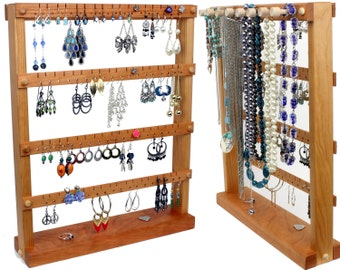 Jewelry Organizer Stand / Jewelry Holder, Cherry Wood with Necklace Display on back. Holds 72 pairs plus 8 jewelry pegs. Jewelry Display