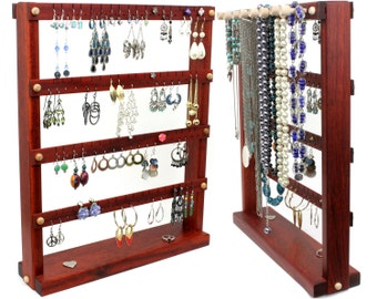 Jewelry Display - Earring Organizer Stand, Bloodwood, Red, Wood, Necklace Holder. Holds 72 pairs plus 8 pegs. Jewelry Organizer - Holder