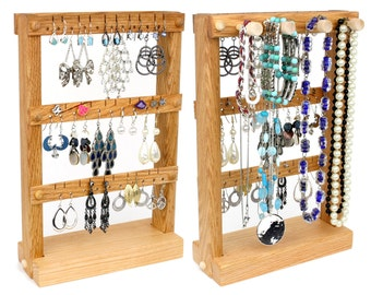 Jewelry Display Stand, Earring Holder, Wood, Oak, Plus Necklace Rack. Holds up to 30 pairs, 4 pegs. Jewelry Holder - Organizer