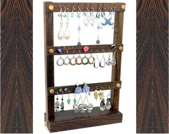 Wood Earring Holder Stand - Jewelry Organizer. Bocote , Zebra-Stripe, Dark Brown.  Holds up to 30 pairs of earrings. Jewelry Holder