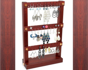 Earring Holder Stand - Jewelry Holder, Bloodwood, Red, Wooden. Holds up to 30 pairs of Earrings. Jewelry Display.