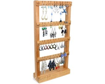 Jewelry Display - Earring Holder Stand, Wood, Oak. Holds up to 40 pairs of Earrings. Jewelry Holder.