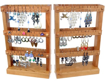Cherry Wooden Jewelry Organizer, Jewelry Display Stand, Double-Sided.  Holds up to 60 pairs of Earrings.  Earring Holder.
