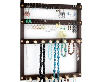 Jewelry Display - Earring Organizer, Hanging, Peruvian Walnut, Wood. Holds 36 pairs, 15 peg Necklace Holder.  Wall Mounted Jewelry Holder