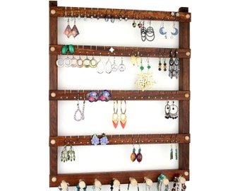 Jewelry Display, Earrings Holder, Hanging, Wood, Caribbean Rosewood, Necklace Rack. 72 pairs, 8 pegs. Wall Mount Jewelry Holder