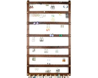Jewelry Holder, Earring Holder, Black Walnut, Wood, Necklace Holder. 168 Pairs, 10 pegs. Wall Mount Jewelry Display - Jewelry Organizer