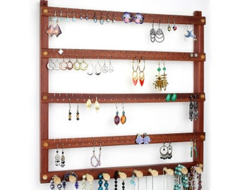 Earring Holder - Jewelry Organizer, Hanging, Wood, Bloodwood, Red, Necklace bar. Holds 96 pairs, 10 pegs. Jewelry Holder - Earring Display