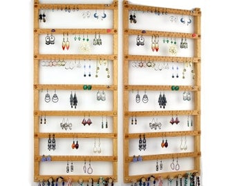 126 Pair Hanging Earring Holder - Jewelry Organizer, Oak, Wood, Necklace Display. 8 pegs.  Wall Mounted. Jewelry Holder